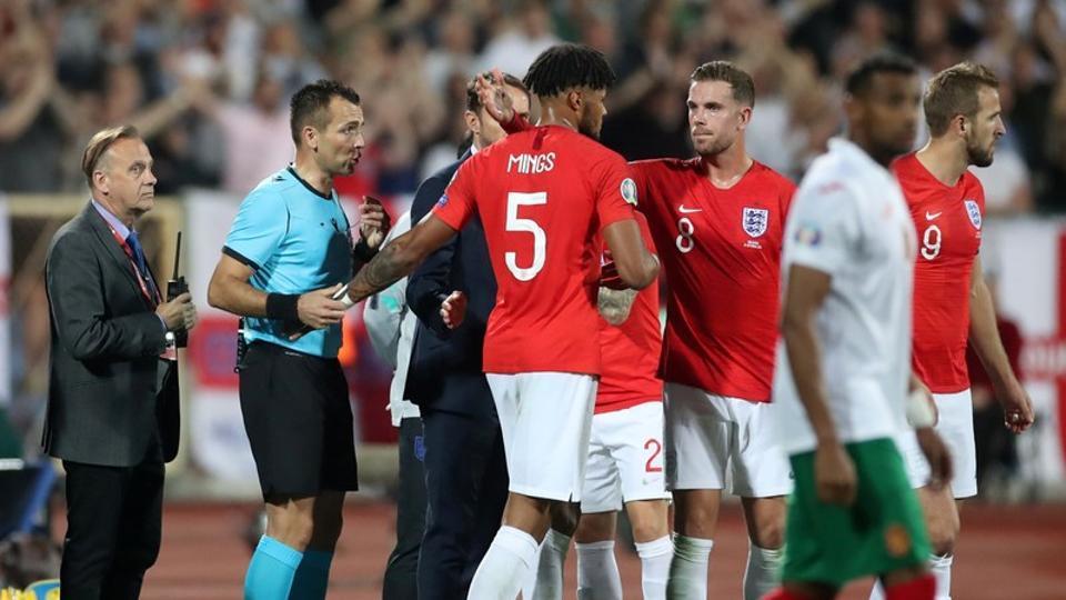 England's Tyrone Mings after speaking to referee Ivan Bebek.