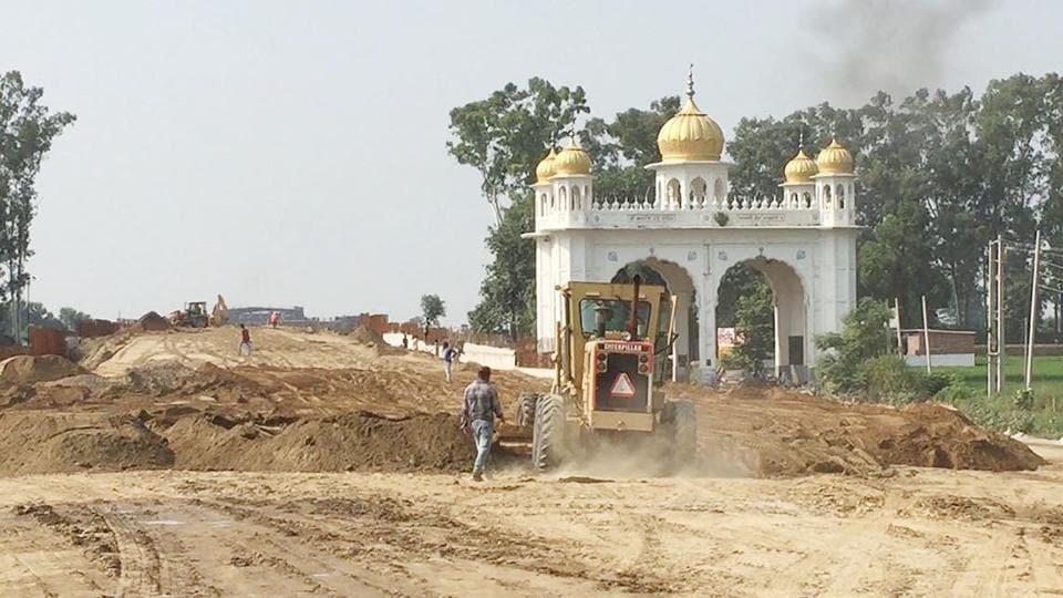 A view of the construction work of Kartarpur Corridor at Dera Baba Nanak district Gurdaspur.