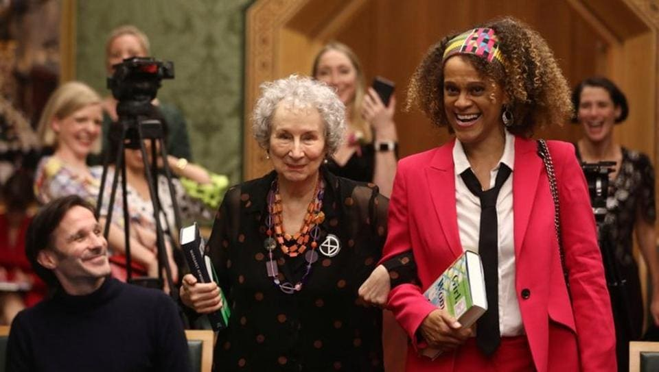 Margaret Atwood and Bernardine Evaristo jointly win the Booker Prize for Fiction 2019 at the Guildhall in London, Britain.