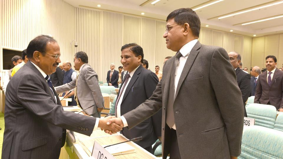National Security Advisor Ajit Doval with Rakesh Asthana, IPS, Director General of BCAS (R) during the NIA's national conference of Chiefs of Anti-Terrorism Squad/Special Task Force, at Vigyan Bhawan in New Delhi, on Monday, October 14, 2019.