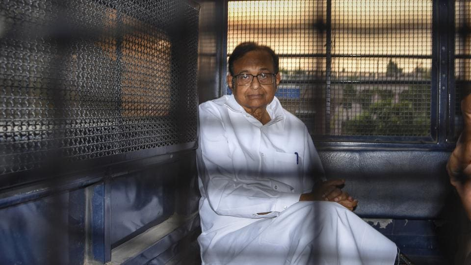 Senior Congress leader and former finance minister P Chidambaram after being produced in the Rouse Avenue Court in connection with the INX Media corruption case, in New Delhi on Tuesday.