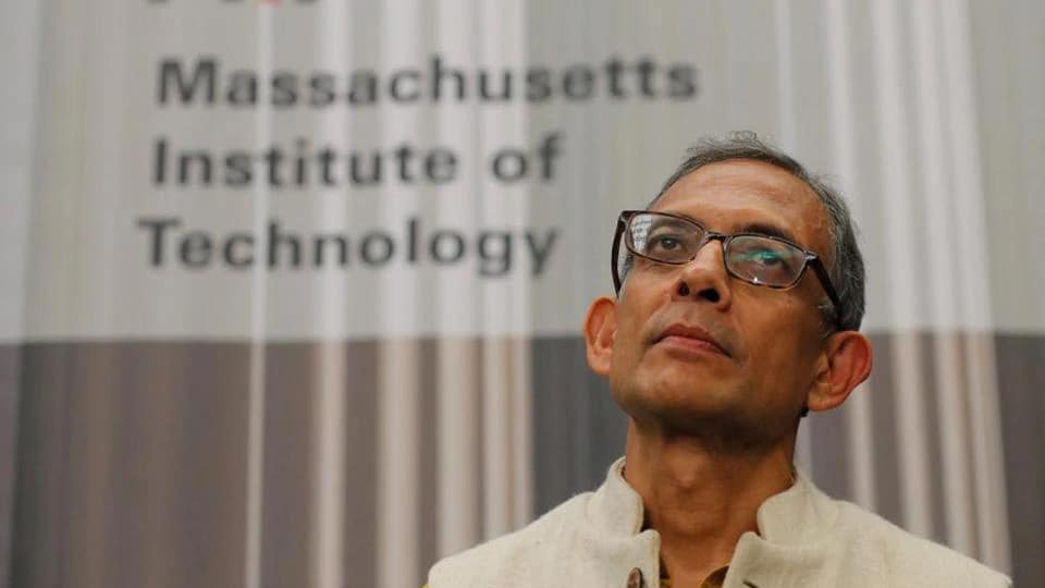 Abhijit Banerjee, one of the three winners of the 2019 Nobel Prize in Economics, waits to speak at a news conference at the Massachusetts Institute of Technology (MIT) in Cambridge, Massachusetts.