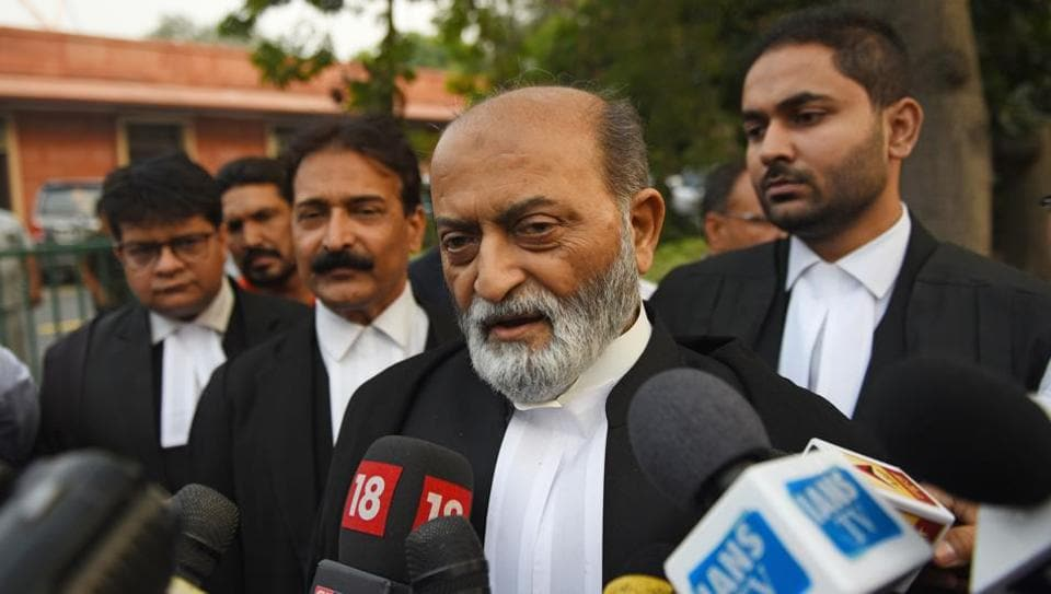 Zafaryab Jilani, lawyer for the Sunni Wakf Board, speaks to the media after the hearing in the Ramjanmabhumi-Babri Masjid title dispute case, at Supreme Court, in New Delhi on Wednesday.