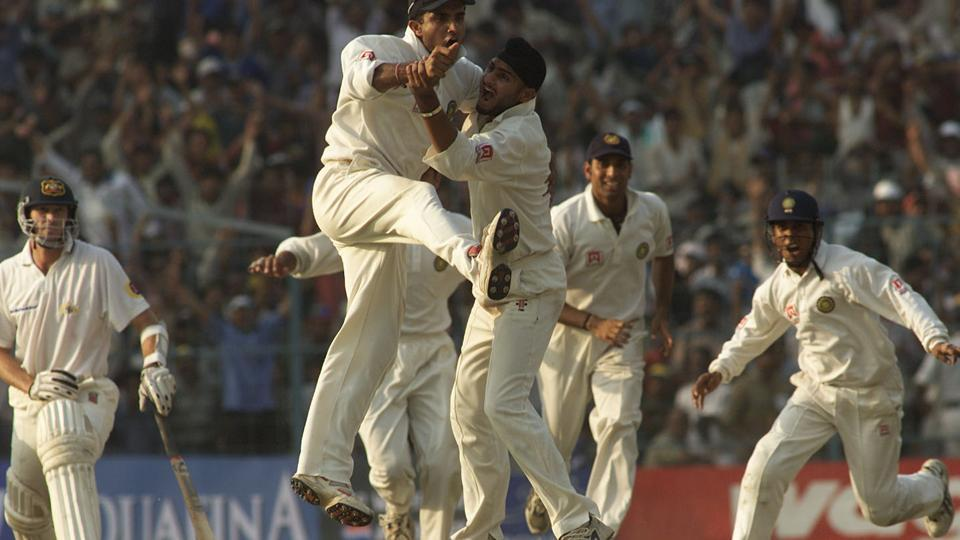 An overjoyed Sourav Ganguly celebrates with Harbhajan Singh after India's miraculous come from behind win in the 2nd Test match against Australia at Eden Gardens in Kolkata.