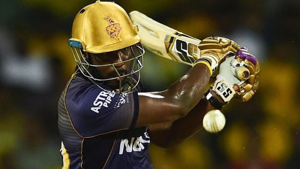 Andre Russell plays a shot during an Indian Premier League match