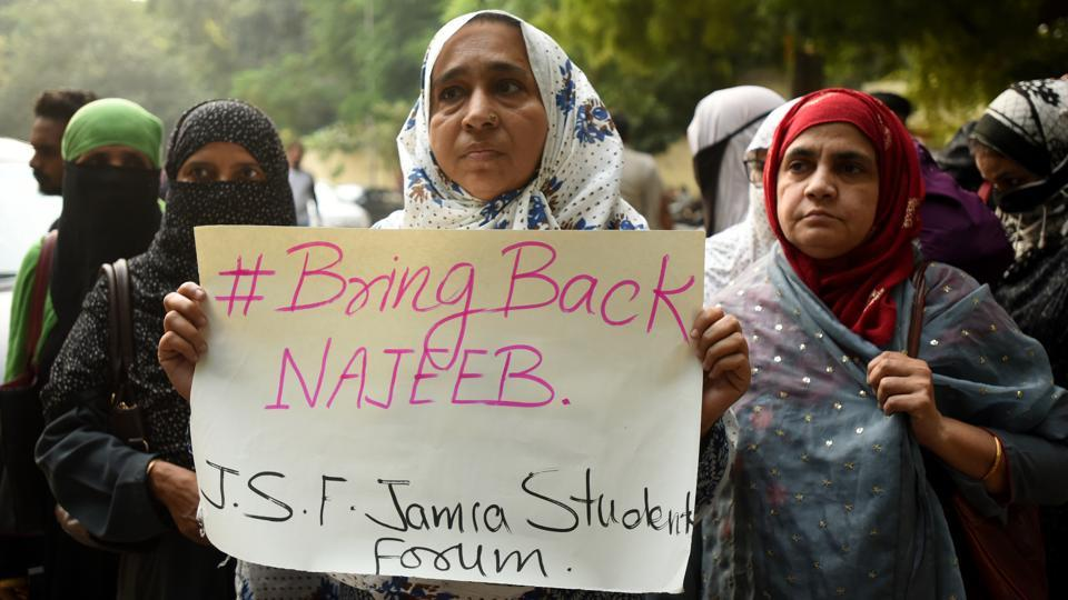 Missing Jawaharlal Nehru University (JNU) student Najeeb Ahmed's mother on Tuesday held a protest at Jantar Mantar.