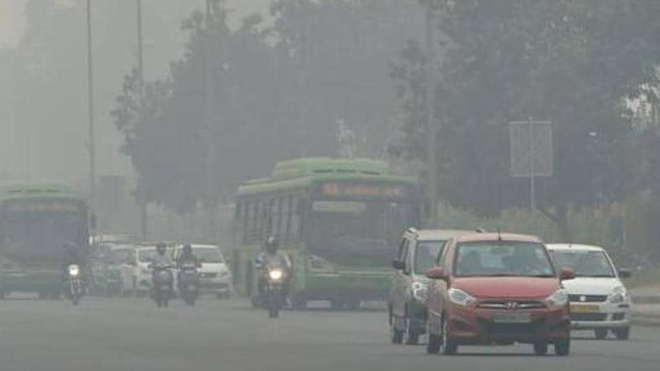 Dust on roads and from open storage of construction material could be spotted in many parts of Delhi.