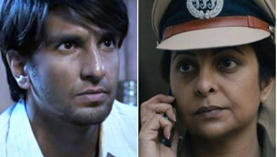 Ranveer Singh in a still from Gully Boy, and Shefali Shah in a still from Delhi Crime.