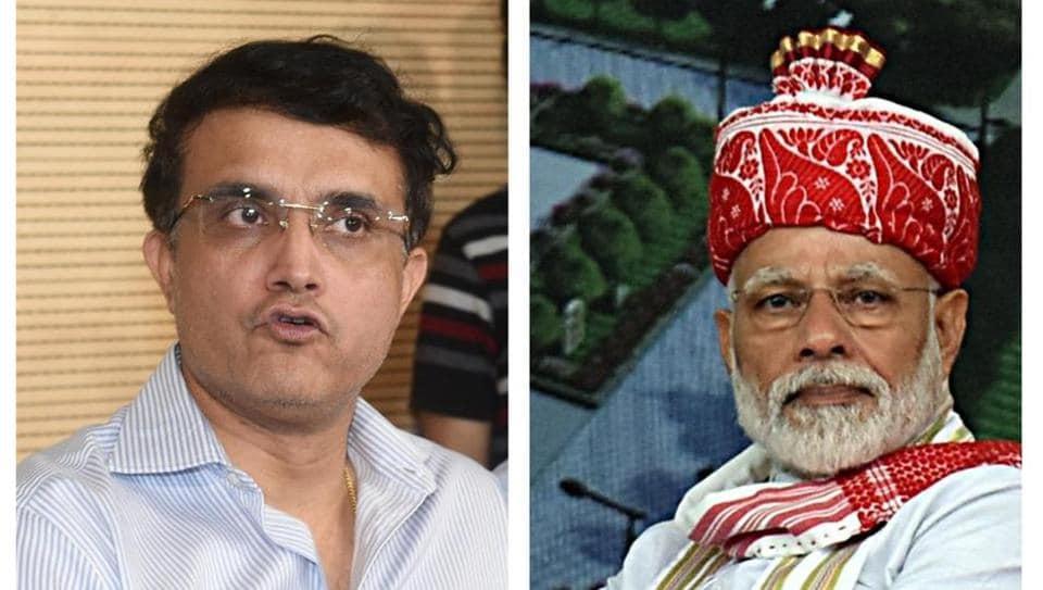 Sourav Ganguly (L), Narendra Modi(R)