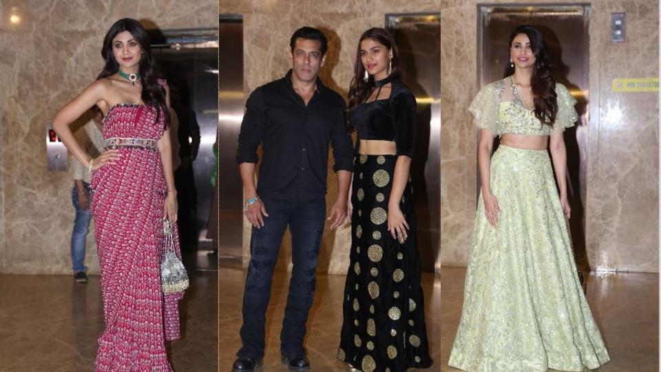 Shilpa Shetty, Salman Khan, Saiee Manjrekar and Daisy Shah at Ramesh Taurani's Diwali bash.