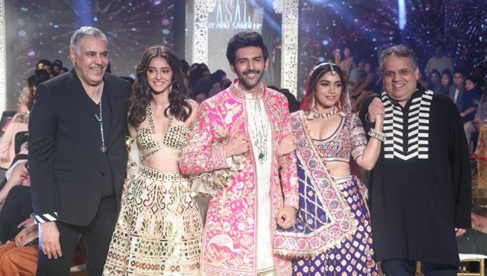 Ananya Panday, Kartik Aaryan and Bhumi Pednekar walked the ramp for Abu Jani-Sandeep Khosla on Wednesday.