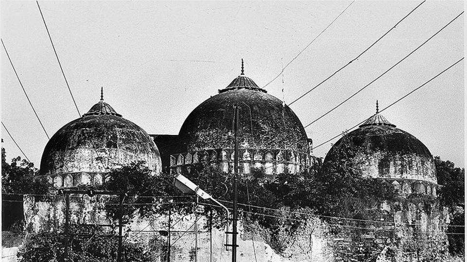 Rear view of the structure which is at the center of the Babri Masjid Ram Janmabhoomi controversy in Ayodhya.