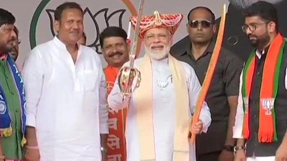 Prime Minister Narendra Modi at an election rally in Satara, Maharashtra, on Thursday.
