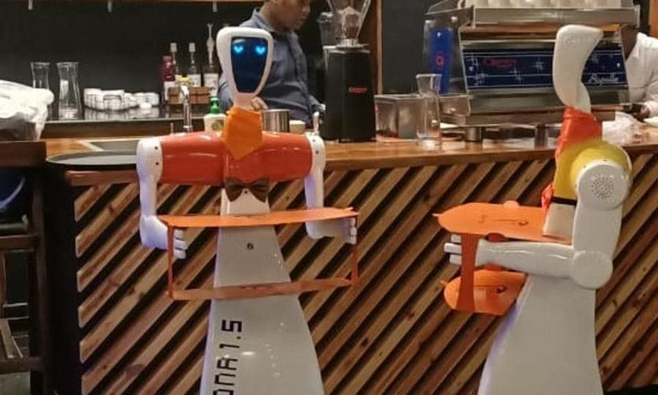 The two robots named Champa and Chameli which will serve customers at the Robo Chef restaurant in Bhubaneswar.