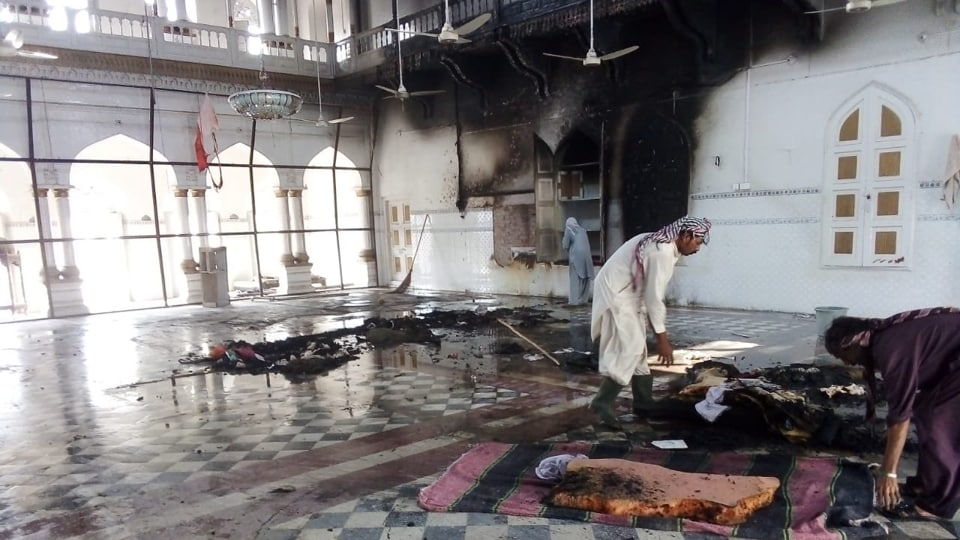 The fire damaged the main hall of the gurdwara.
