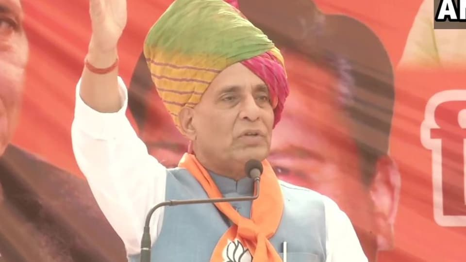 Rajnath Singh at an election rally in Haryana on Thursday.