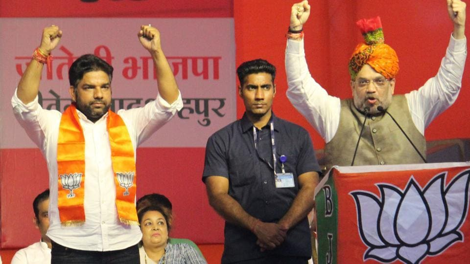 Union home minister Amit Shah at an election rally in Gurugram, Haryana, October 16, 2019.