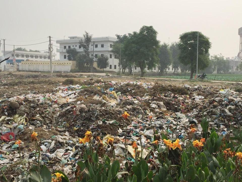 Heaps of garbage near Gurudwara Darbar Sahib in Gurdaspur district on Thursday.