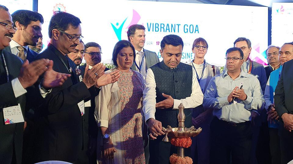 Goa Chief Minister Pramod Sawant lighting the ceremonial lamp during the inaugural ceremony of Vibrant Goa Global Expo and Summit 2019 in Bambolim on Thursday.