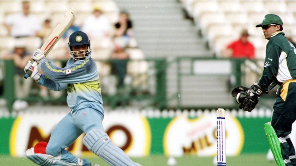 Sourav Ganguly in action in a match against Pakistan.