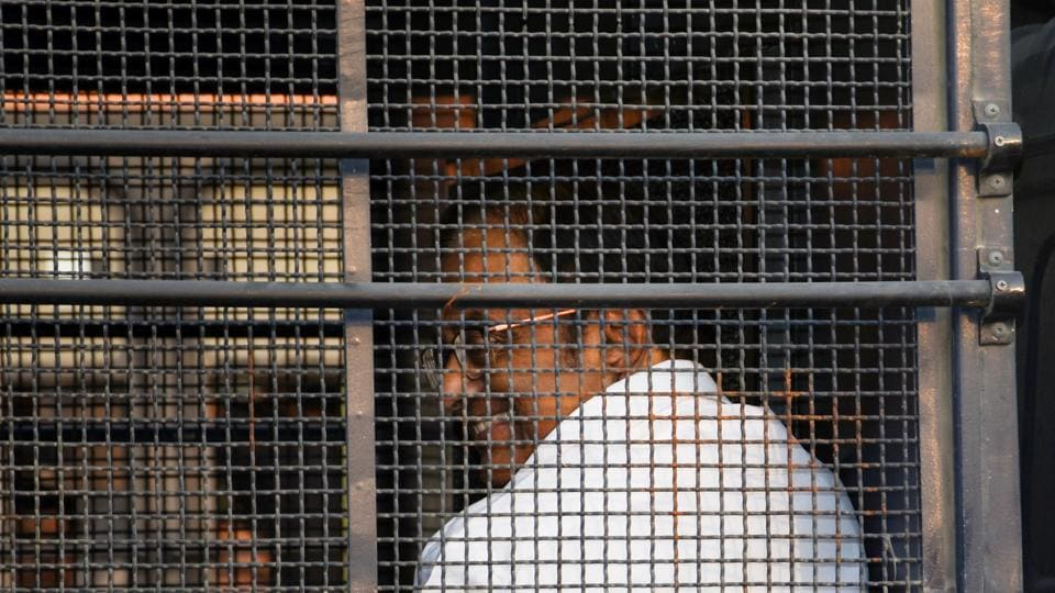 Senior Congress leader and former finance minister P Chidambaram after being produced in the Rouse Avenue Court in connection with the INX Media corruption case, in New Delhi earlier last month.