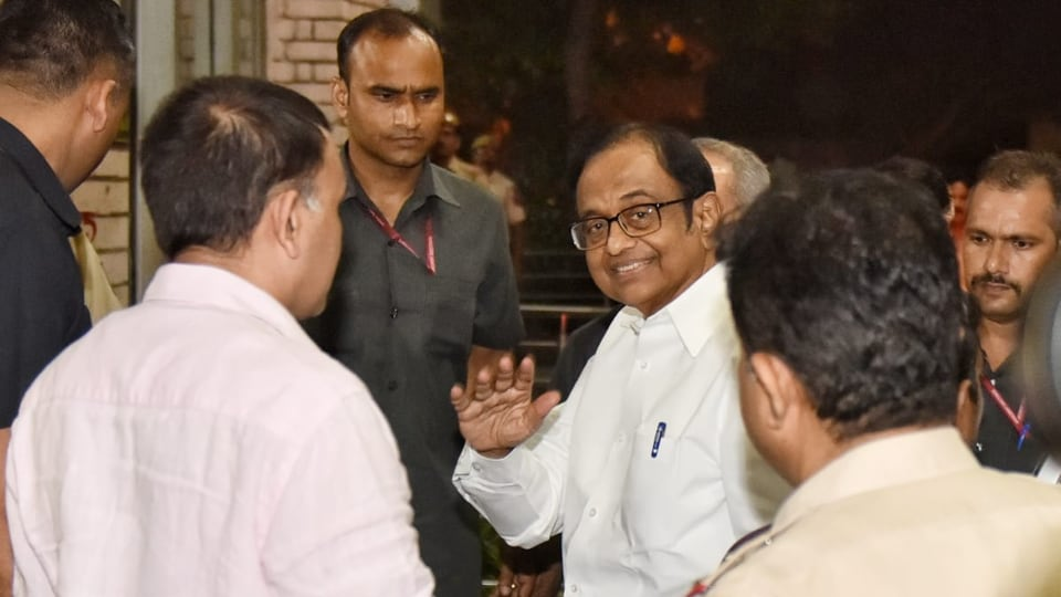 P Chidambram, former finance minister of India arrived at Enforcement Directorate office for further questioning in INX Media case at Khan Market, New Delhi.