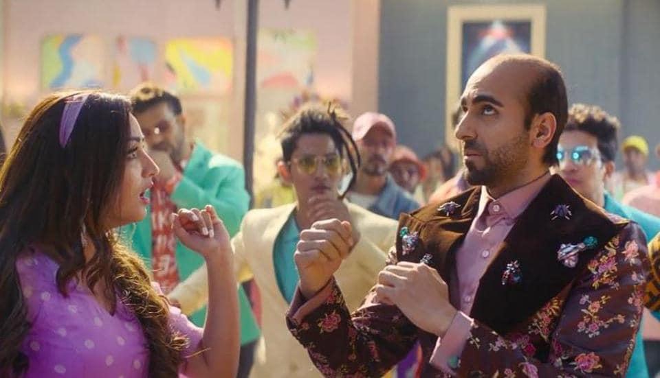 Yami Gautam and Ayushmann Khurrana in a still from Bala song, Don't Be Shy.