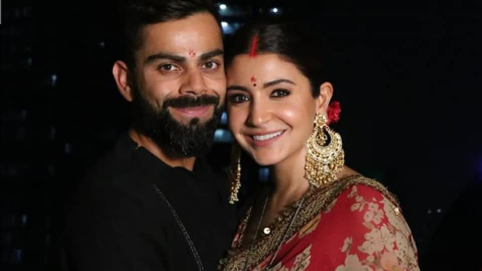 Anushka Sharma wore a print red saree for Karwa Chauth this year.