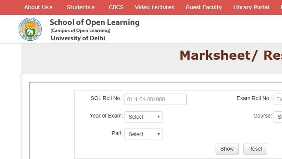 Delhi University School of Open Learning (SOL) has declared the results of BA Part 1 and part III, BCom Part I, II and III, BCom (H), BA (H) Pol science and BA (H) History.