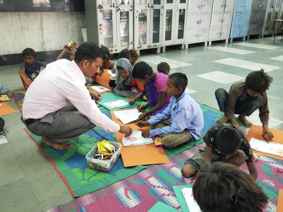 Around a dozen children are attending the classes organised by the NR in Lucknow.