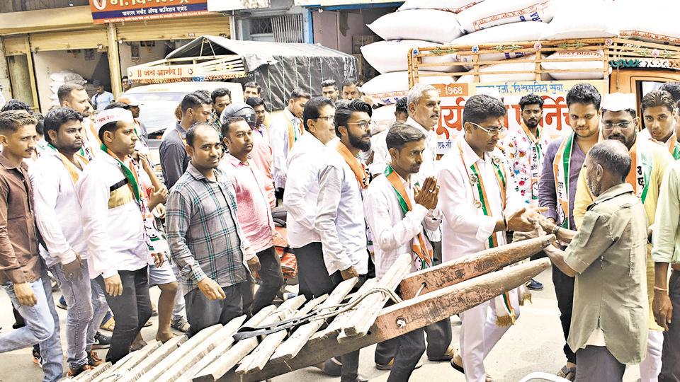 NCP's Sangram Jagtap takes to the streets of Ahmednagar as part of his campaign rally on Thursday.