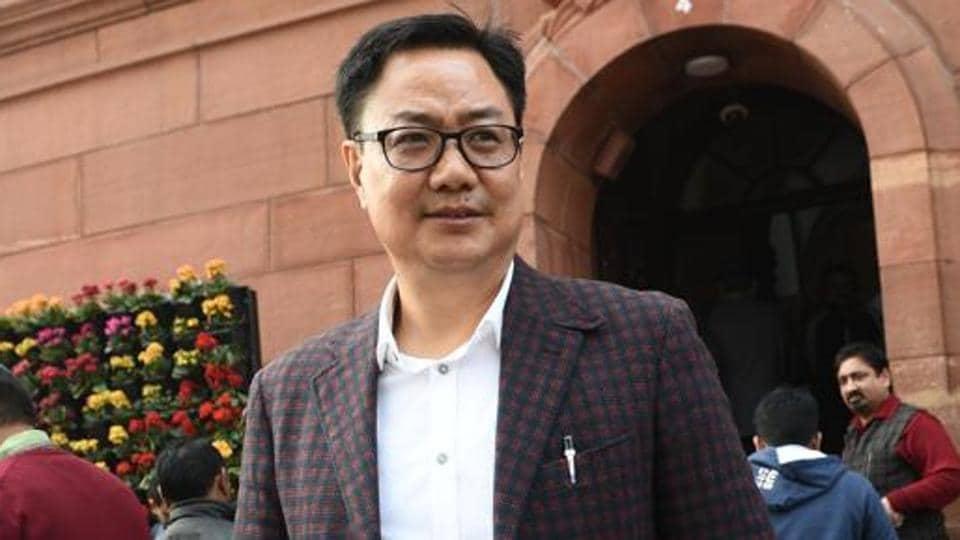 Sports minster Kiren Rijiju at the Parliament