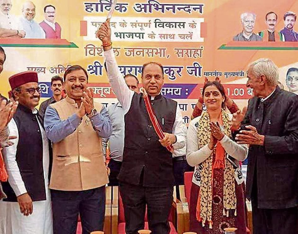 Chief minister Jai Ram Thakur along with BJP leaders during a rally for party's Pachhad nominee Reena Kashyap (2R) at Sarahan in Sirmaur on Friday.