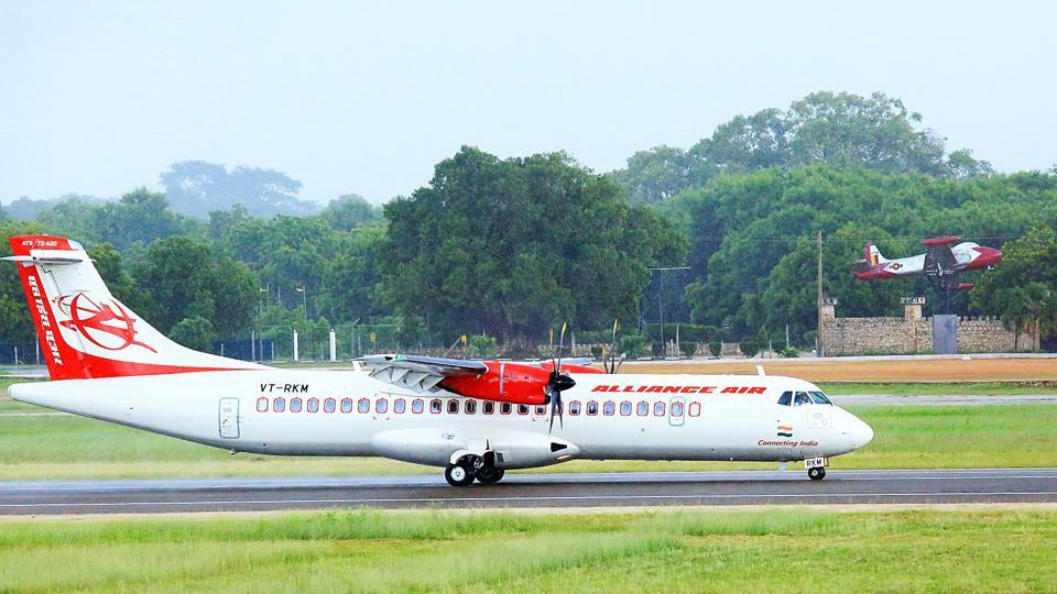 A view of Alliance Air flight  from Chennai after it landed at the Jaffna International Airport in Sri Lanka on Thursday.