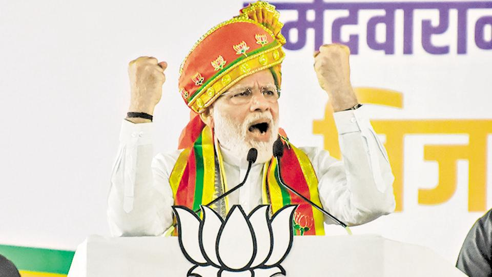 prime Minister Narendra Modi during the election rally at SP College ground in Pune on Thursday.