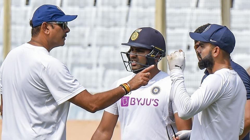 Ranchi: India Captain Virat Kohli with Rohit Sharma and Coach Ravi Shastri during a practice session.