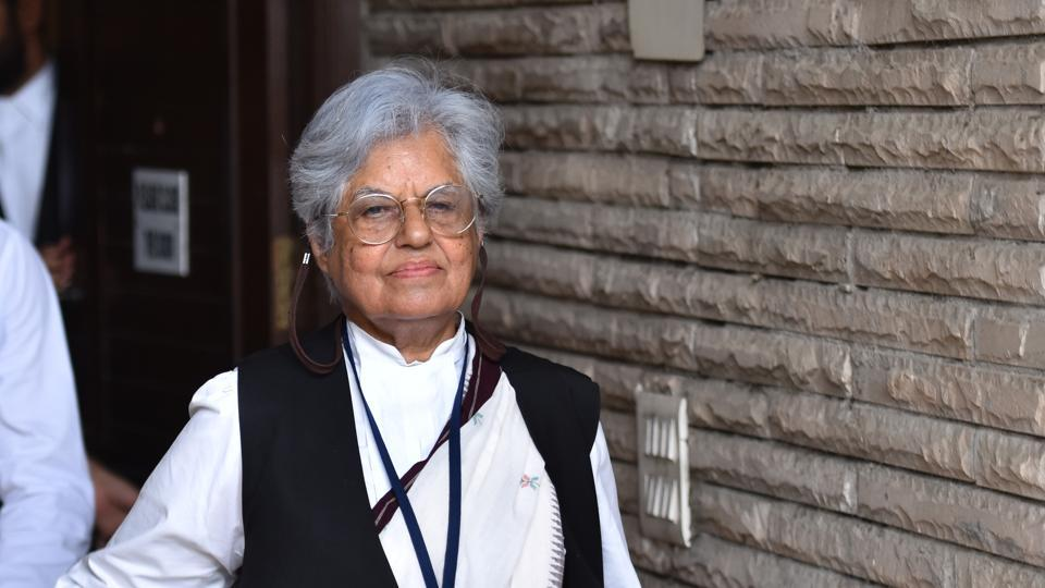 Senior advocate Indira Jaising comes out of her residence after CBI conducted raids in her residence and office in connection with a foreign funding case,  July, 2019.
