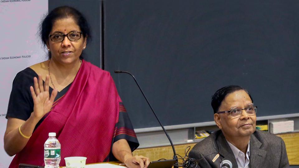 New York: Union Minister for Finance and Corporate Affairs Nirmala Sitharaman (L) speaks on 'Indian Economy: Challenges and Prospects' at Columbia University in New York.
