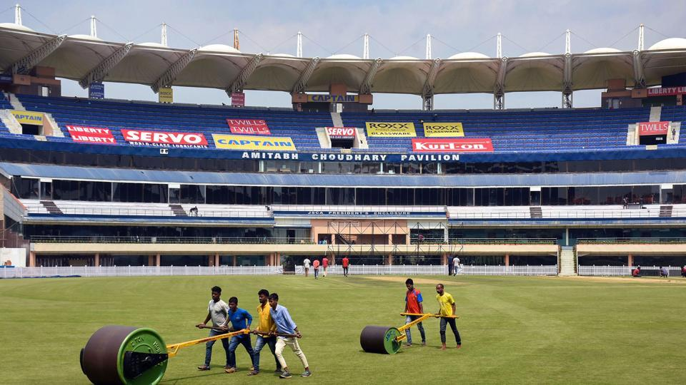 Groundsmen at work in the field at JSCA International Stadium for the third and final India-South Africa cricket test match in Ranchi, Tuesday, Oct. 15, 2019.