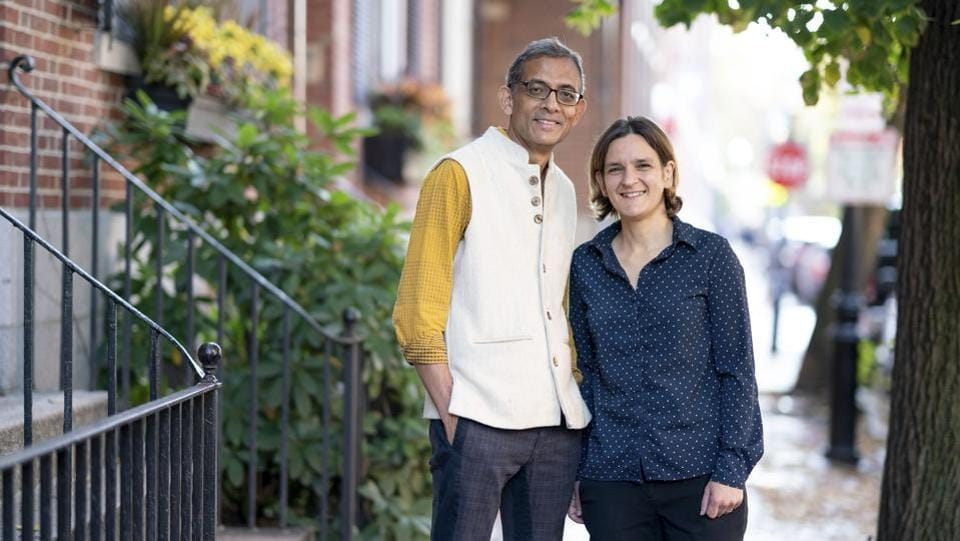 Abhijit Banerjee and Esther Duflo, winners of the 2019 Nobel Prize for Economics at their home in Boston, Massachusetts. (Bryce Vickmark / MIT / AFP)