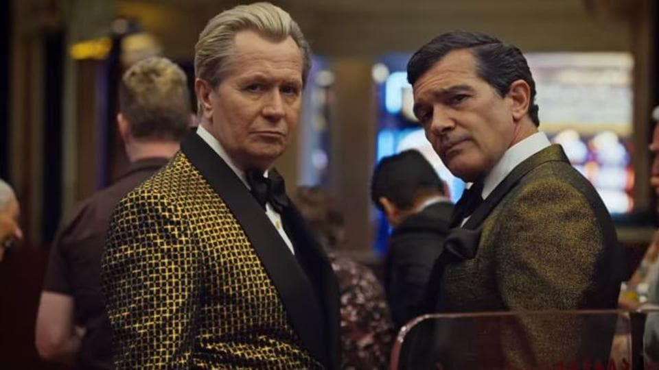 The Laundromat movie review: Gary Oldman and Antonio Banderas in a still from Steven Soderbergh's Netflix film.
