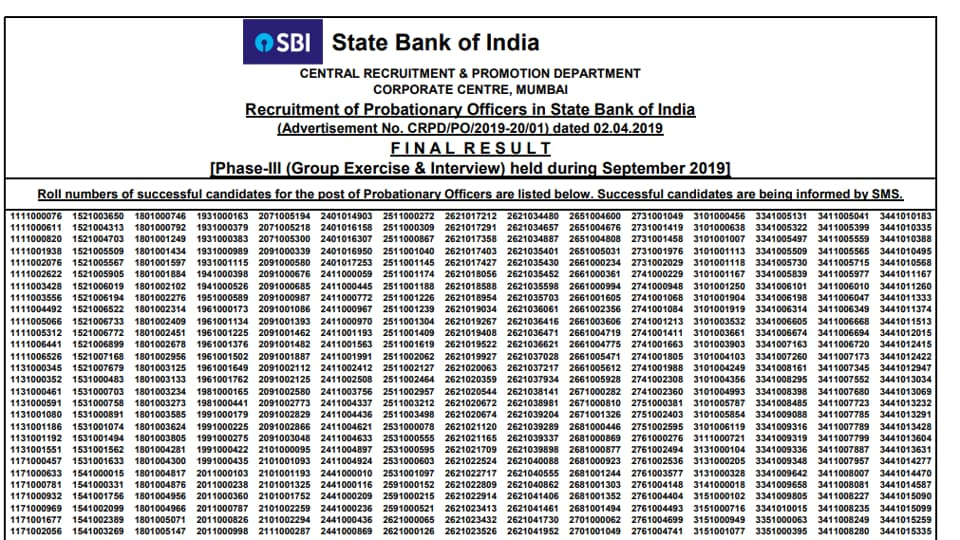 SBIPOfinal result 2019 out