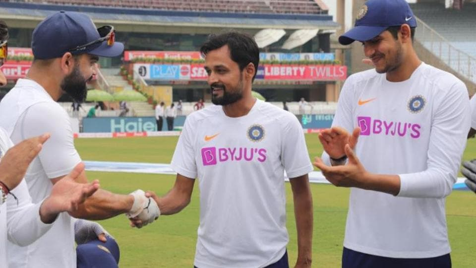 Shahbaz Nadeem was handed his test cap by India captain Virat Kohli