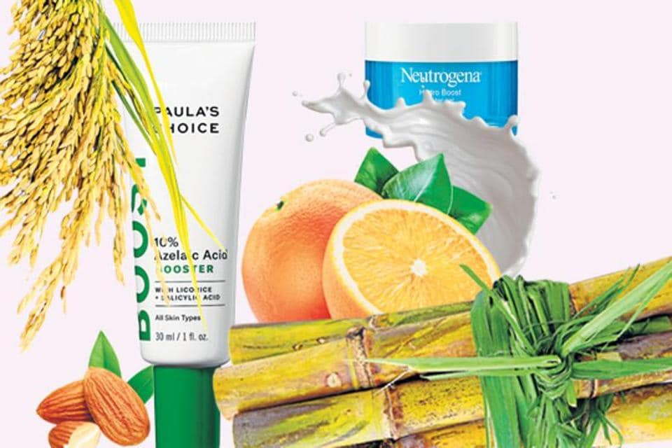 The acids in today's skincare products are more wonder-tool than weapon, and draw from natural ingredients such as citrus fruit, rice and sugarcane.