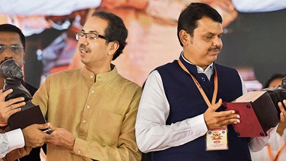 Shiv Sena chief Uddhav Thackeray and CM Devendra Fadnavis in Navi Mumbai in September.