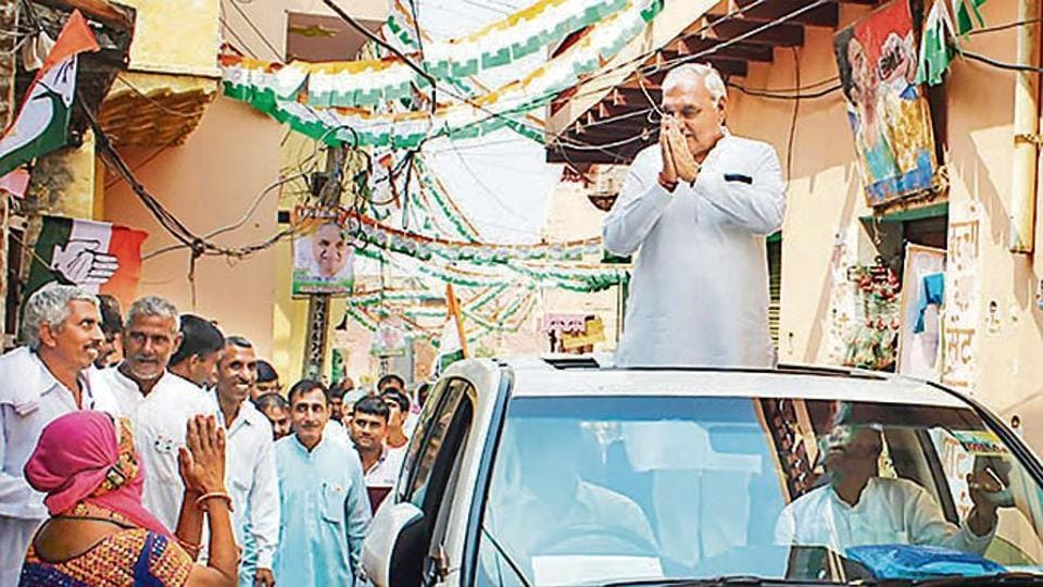 Former CM of Haryana Bhupinder Singh Hooda during an election campaign in Rohtak on October 16, 2019.