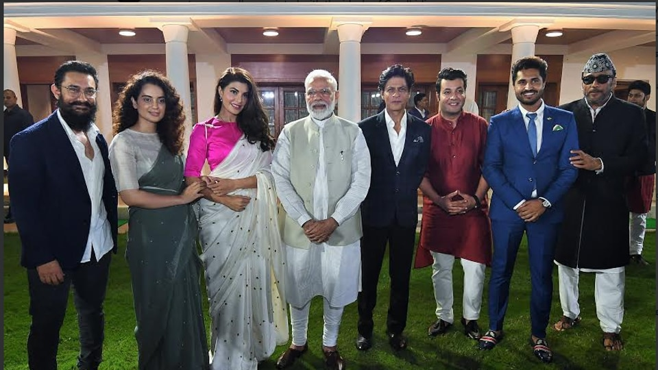 Narendra Modi met Bollywood actors and filmmakers, including Shah Rukh Khan and Aamir Khan, to discuss initiatives to mark the 150th birth anniversary of Mahatma Gandhi.