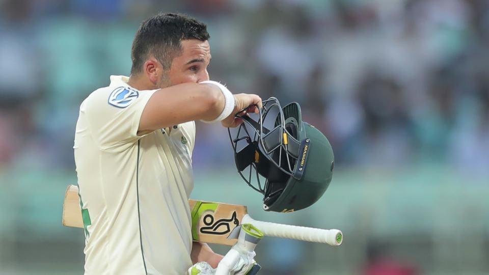 South Africa's Dean Elgar leaves after being dismissed.