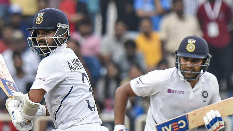 Ranchi: Indian cricketers Rohit Sharma and Ajinkya Rahane run between the wickets.