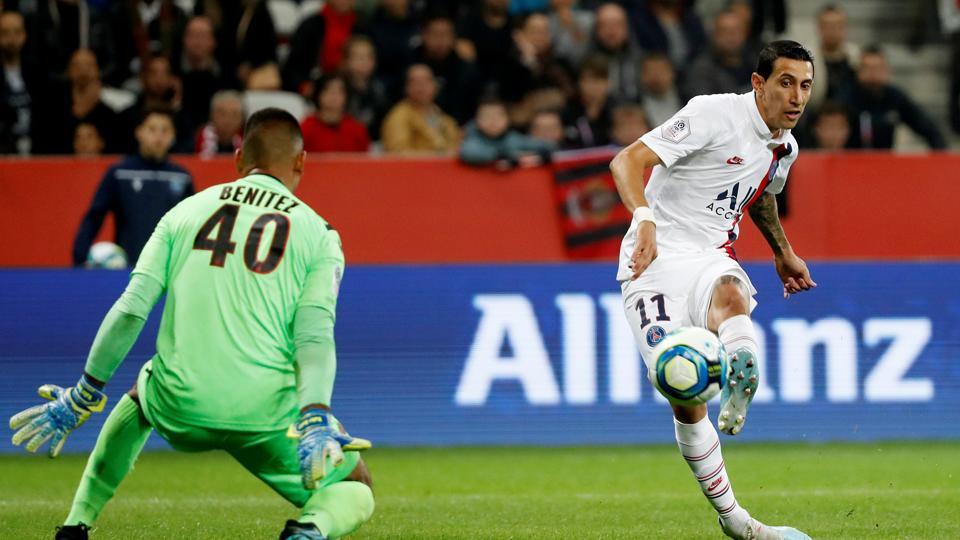 Paris St Germain's Angel Di Maria scores their first goal.